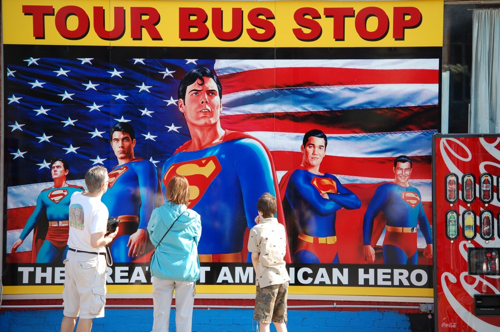 Giant Superman Mural with all of the Supermen