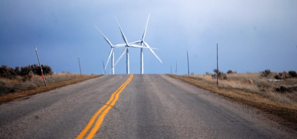 Approaching Wolverine Creek Wind Farm, near Iona, ID