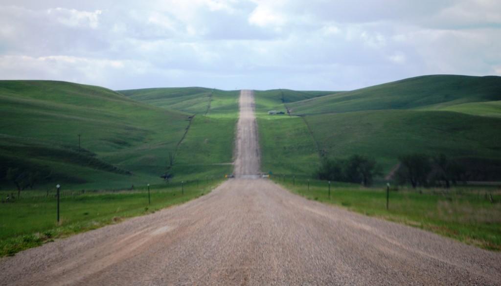 Long gravel road