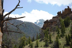 Sandstone Cliffs and Mountains west of Wapiti