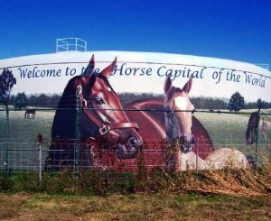 This is a large horse mural on a water tower off of I-75 north of Lexington