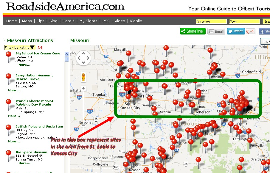 Roadside Attractions Map Roadside America Missouri Map – Less Beaten Paths of America