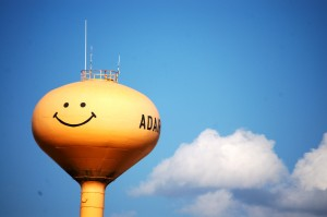 Smiley Water Tower in Adair, Iowa