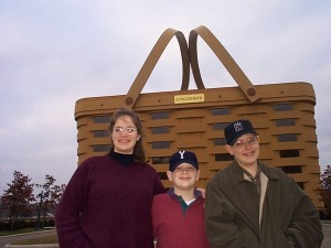Amaree, Solomon and Seth at Longaberger Basket HQ in Newark, OH Fall 1999