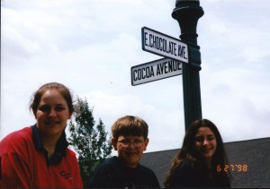 Amaree, Seth and Marissa at Hershey Chocolate World in 1990s