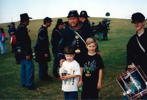 Seth and Solomon with Civil War reenactors in Perryville, KY October 1994