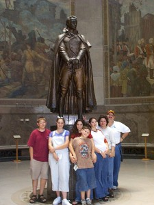 Family inside the Clark Memorial with George Rogers Clark and the seven murals, Summer 2001