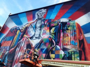Lincoln by Eduardo Kobra, part of the 2013 PRHBTN Festival in Lexington, Kentucky
