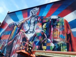 Lincoln by Eduardo Kobra, part of the 2013 PRHBTN Festival in Lexington, Kentucky