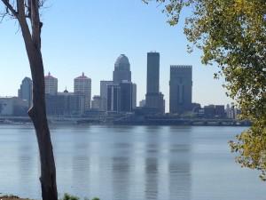 Louisville as seen from across the Ohio River in Jeffersonville, IN