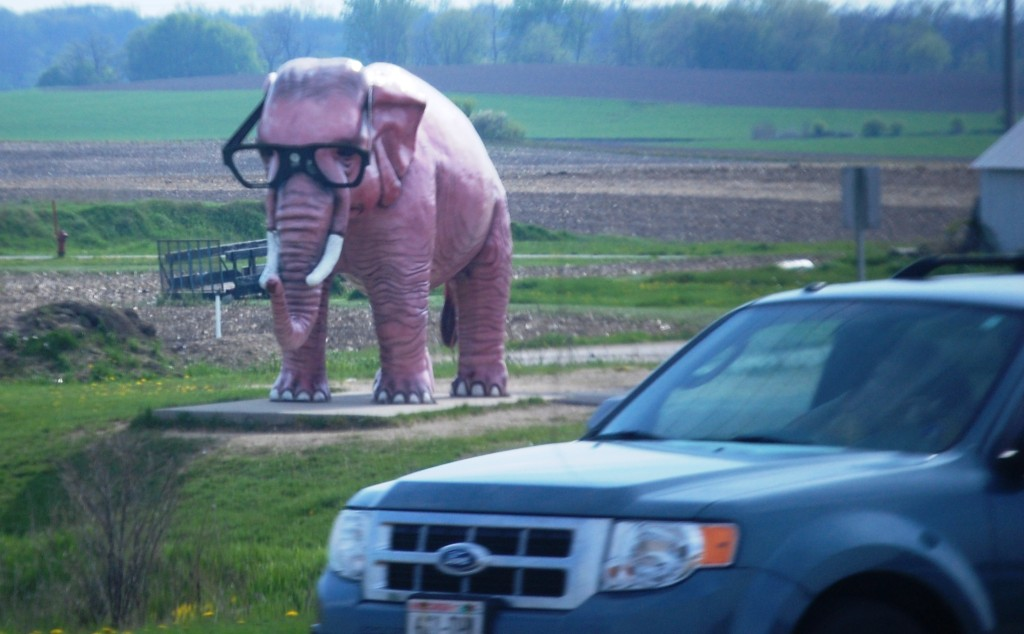 The famous pink elephant of DeForest, WI