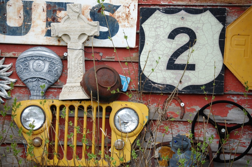 """Part of the front display of a """"collectibles"""" shop west of Odanah, WI on US Route 2"""