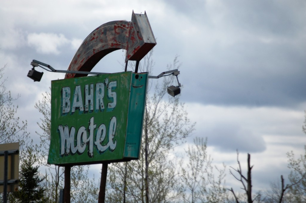 Old Neon sign for Bahr's Motel outlived the motel, which is no longer in Deer River, MN