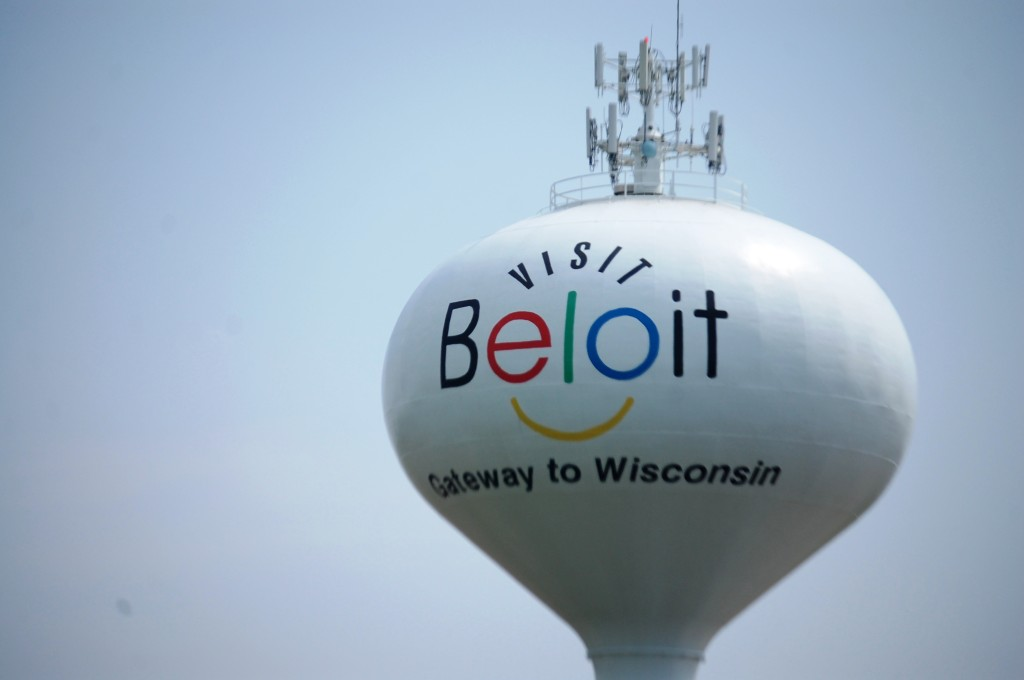 Beloit's Smiley Water Tower greets visitors to Wisconsin