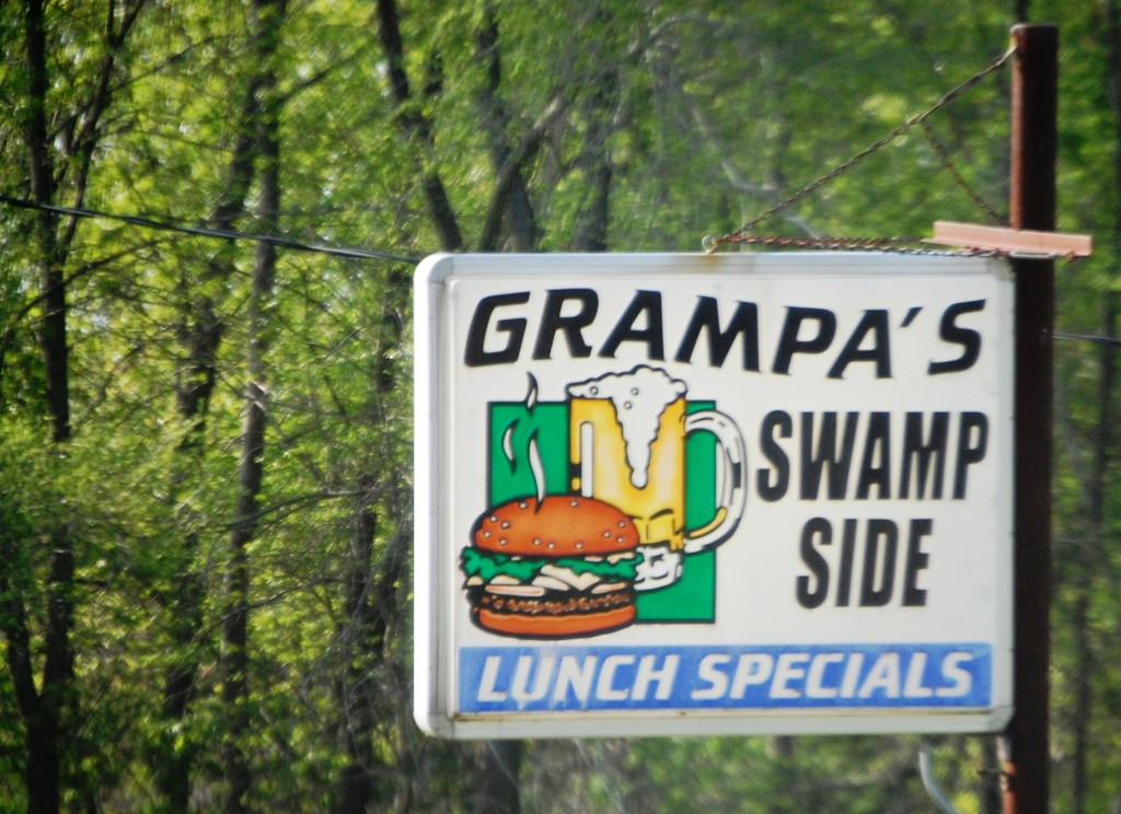 Grampa's Swamp Side Bar & Grill in Endeavor, WI.  Not sure how it is, but love the name!