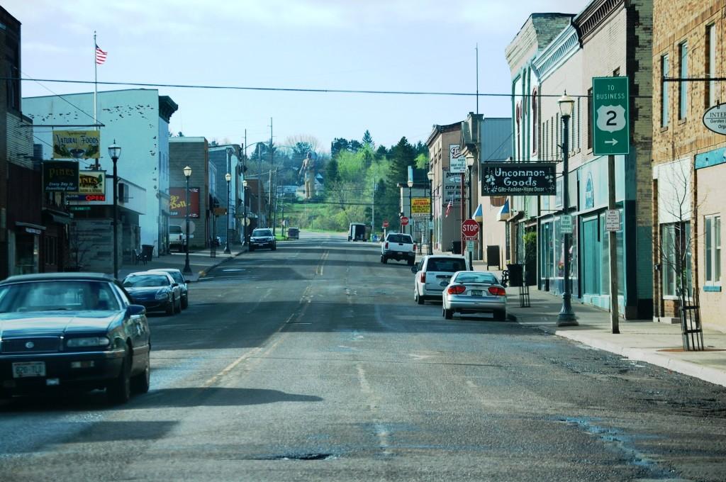 Downtown Ironwood looking towards the giant Hiawatha statue