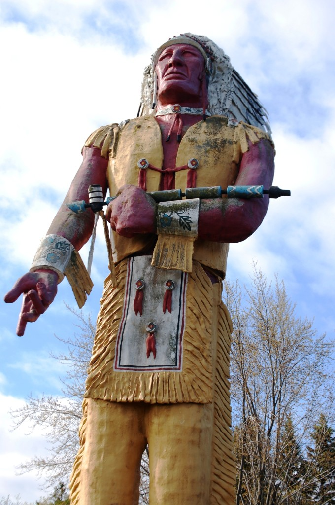 52 foot tall Hiawatha statue in Ironwood, MI