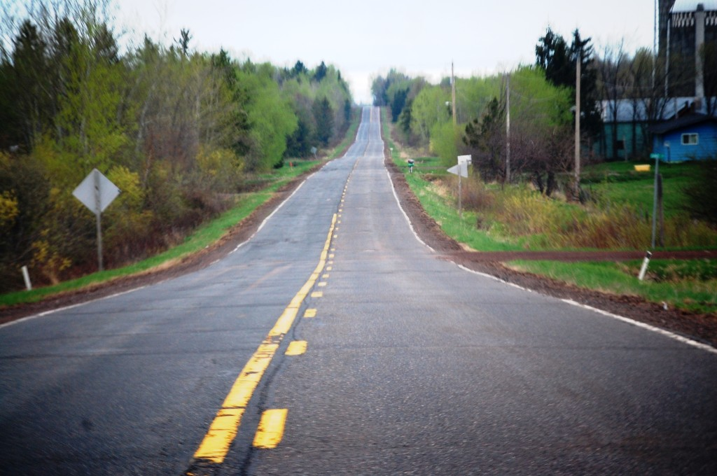 Driving on US Route 2 in eastern Wisconsin