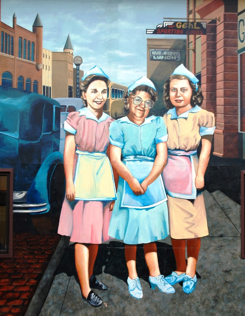 The Bus Stop Waitresses, a mural in Ashland, WI painted by Kelly Meredith and Susan Prentice Martinsen