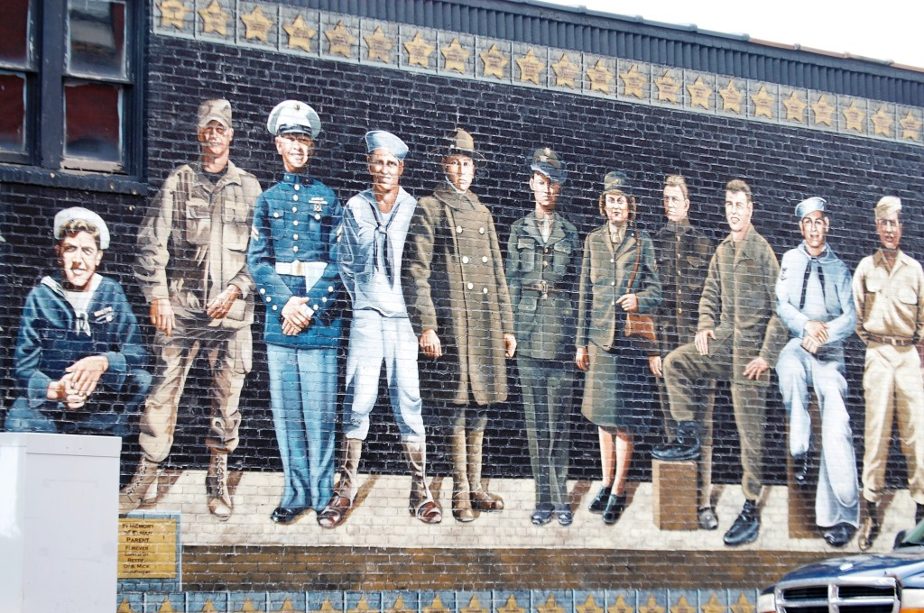 Veterans Mural in Ashland, WI features the real images of 41 veterans from the area