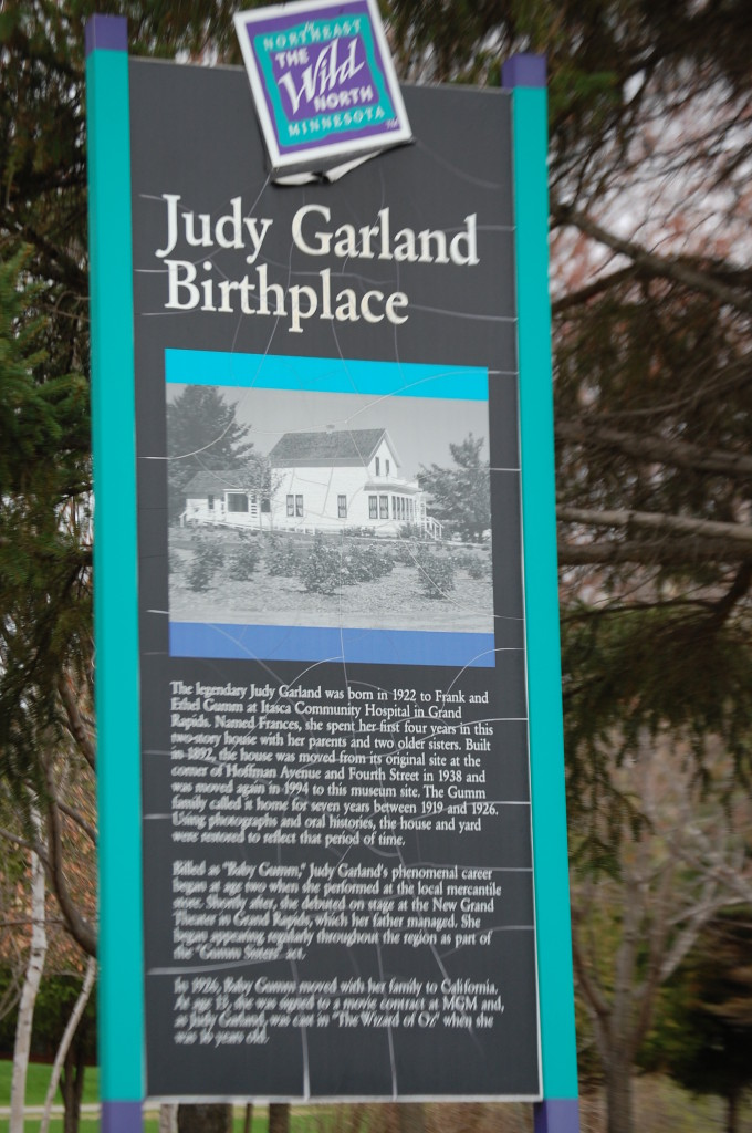 Judy Garland Birthplace placard in Grand Rapids, MN
