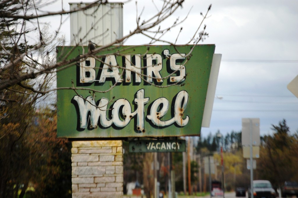 Bahr's Motel sign on the location where the motel used to be in Deer River, MN