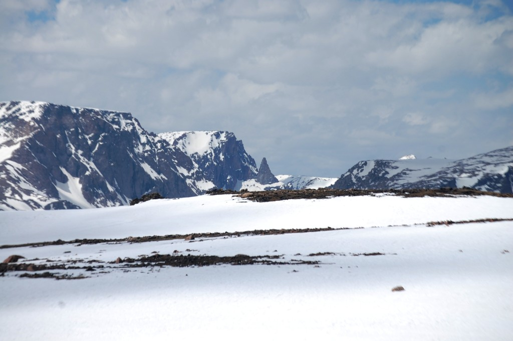 """A scene from the 'Top of the World"""" looking down on the Beartooth Range"""