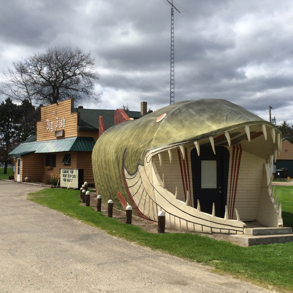 Complete view of the Big Fish Supper Club and the Big Fish in Bena, MN