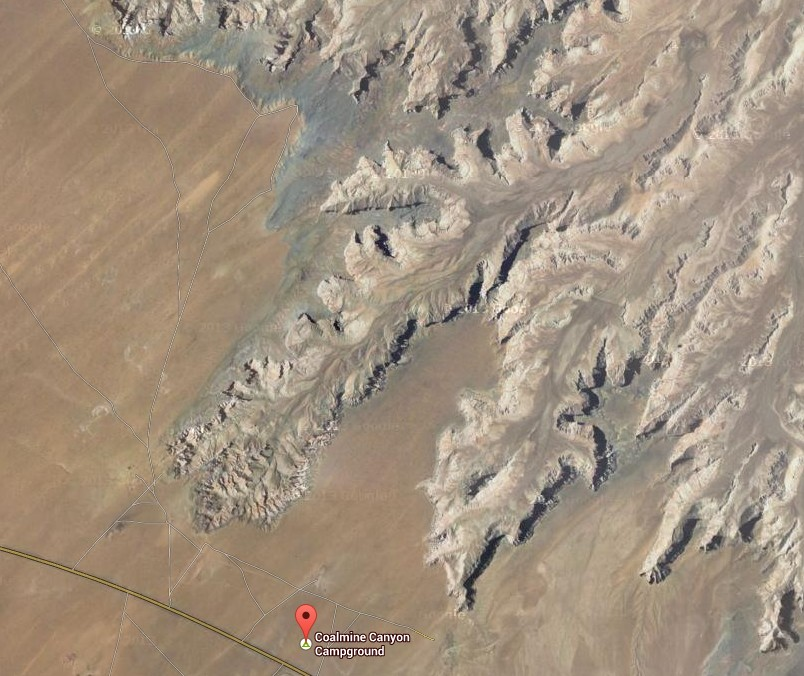 Coal Mine Canyon satellite photo from Google Maps