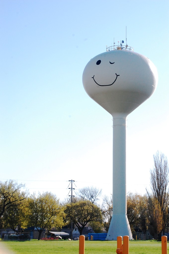 Winking Smiley on backside of Water Tower in Grand Forks