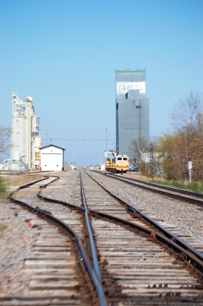 Crossing the tracks in Lakota, ND...looking west