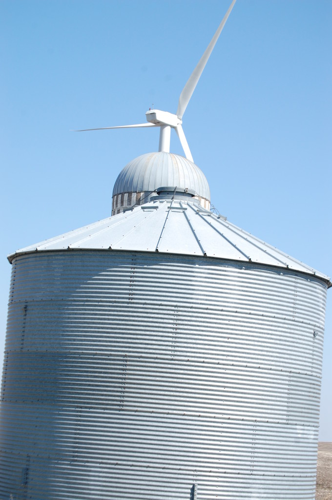Three Structures: Metal silo, old silo, wind turbine