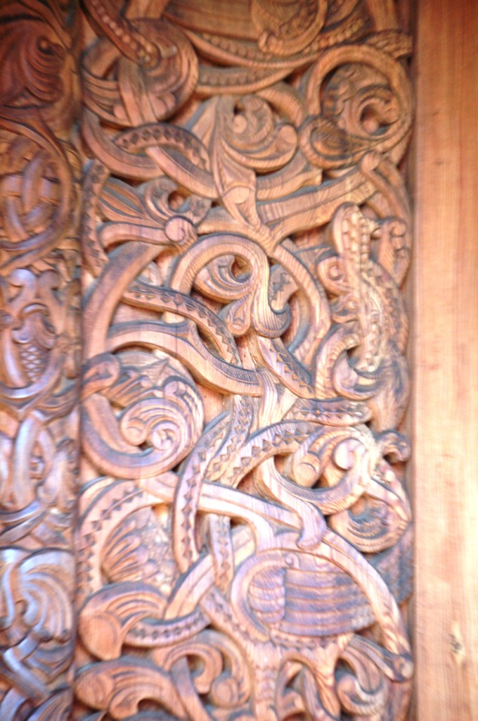 Intricate Wood Carving on the Stave Church doors