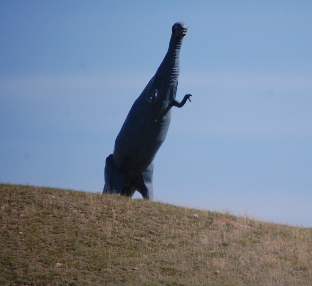 Big Dino on hill made by Buck Samuelson in Glasgow, Montana