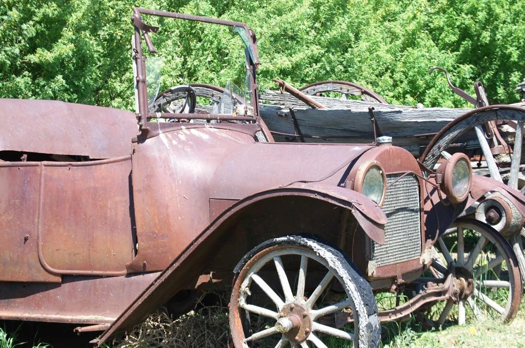 Old car relics at the Depot Museum in Rudyard, MT