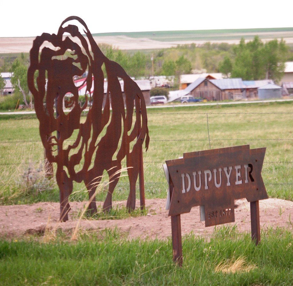 Welcome to Dupuyer, another unique metal town sign, common in northern Montana