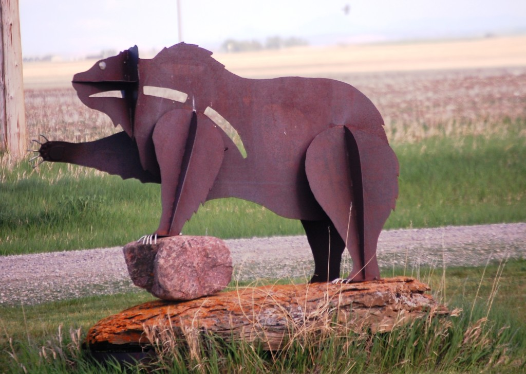 Metal Grizzly Bear in Pendroy, Montana