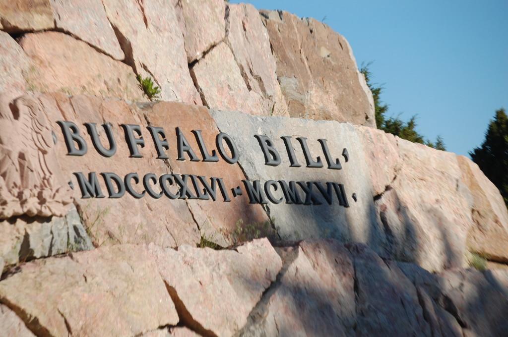 Plaque under Buffalo Bill statue