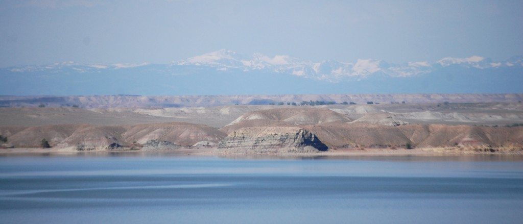 Boysen Reservoir with the Wind River Mountain Range in the distance.
