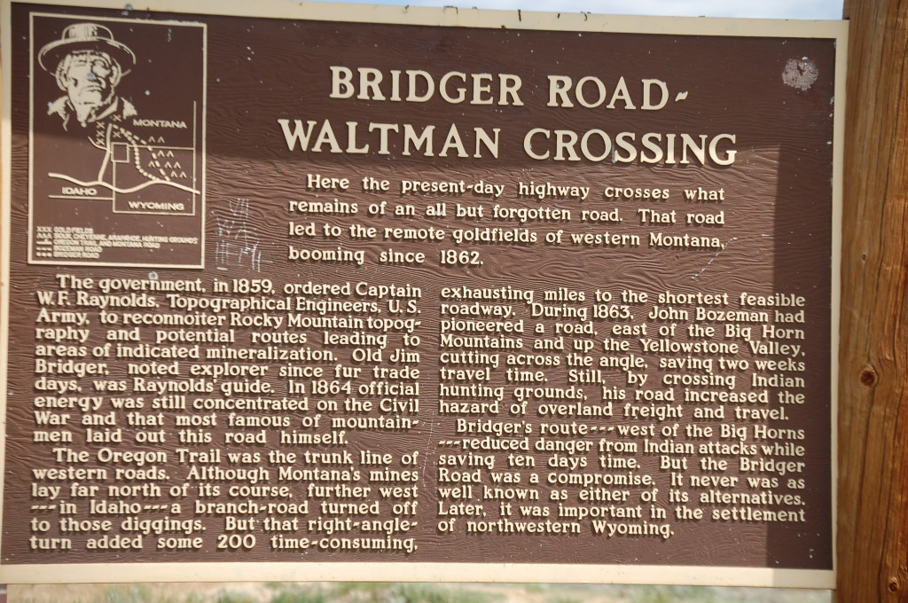 Bridger Road Historical Marker at Rest Area on US 20/26 east of Hiland