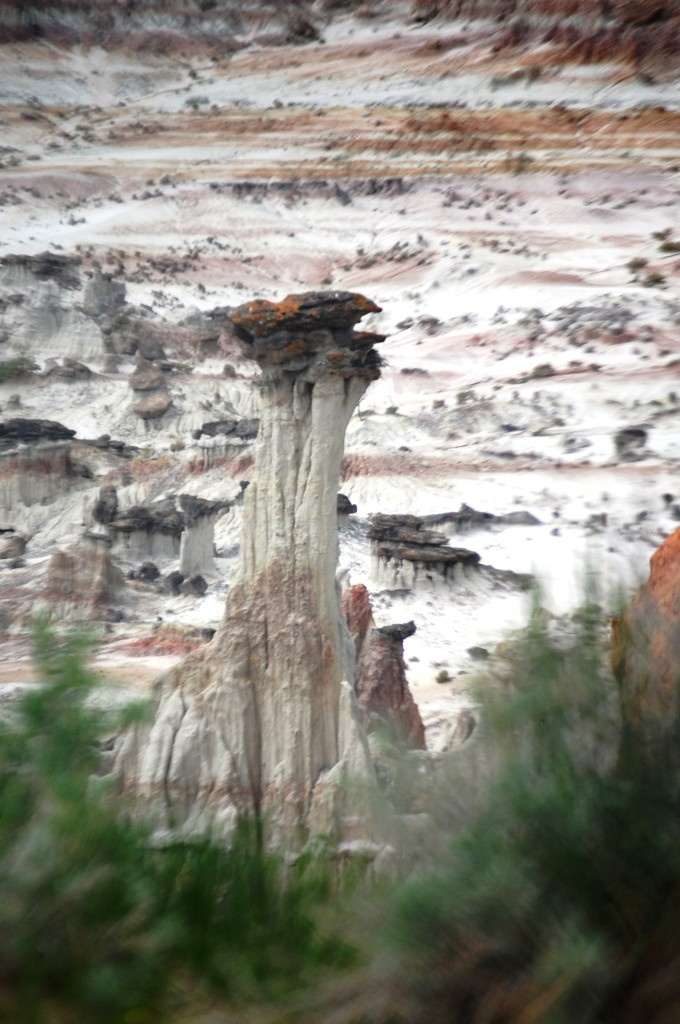 A massive hoodoo pillar in Hell's Half Acre, Wyoming