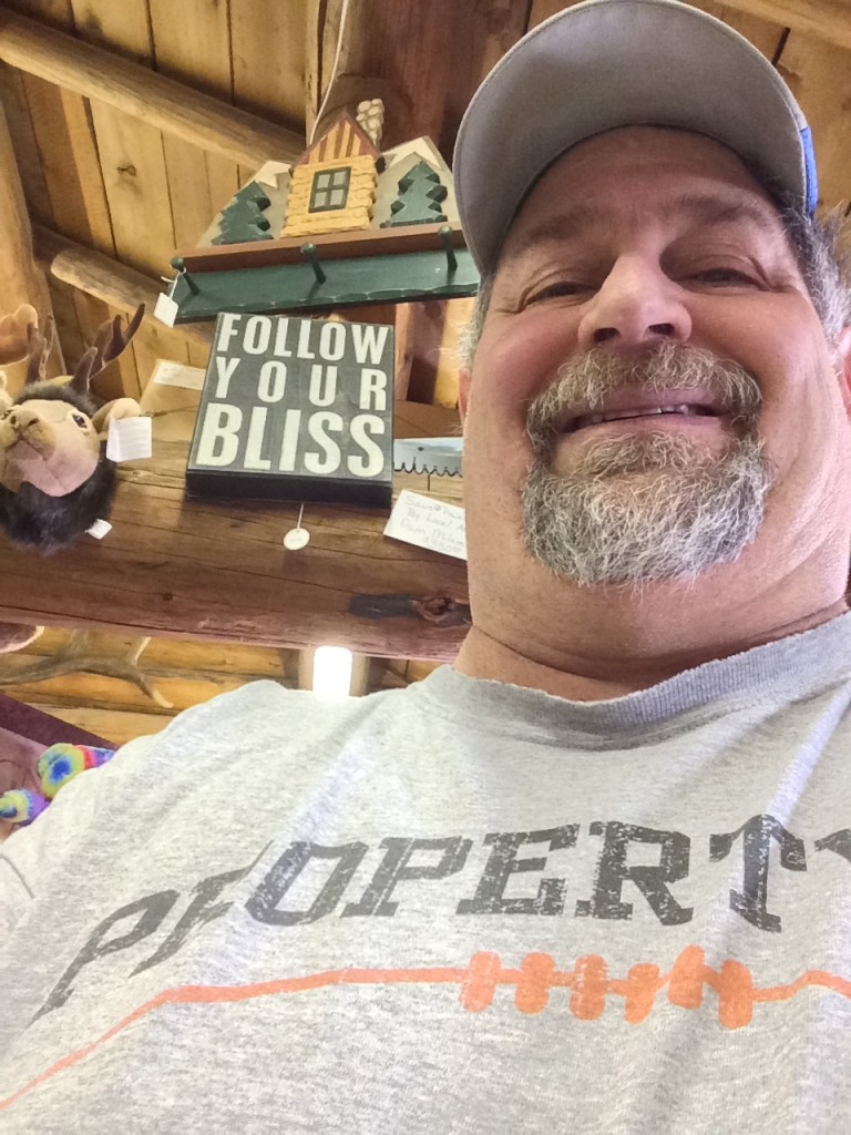 "Found the sign ""Follow Your Bliss"" in the store and I was already with my bliss!"