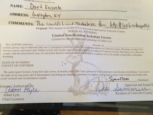 My Official Jackalope Hunting License from Douglas, WY