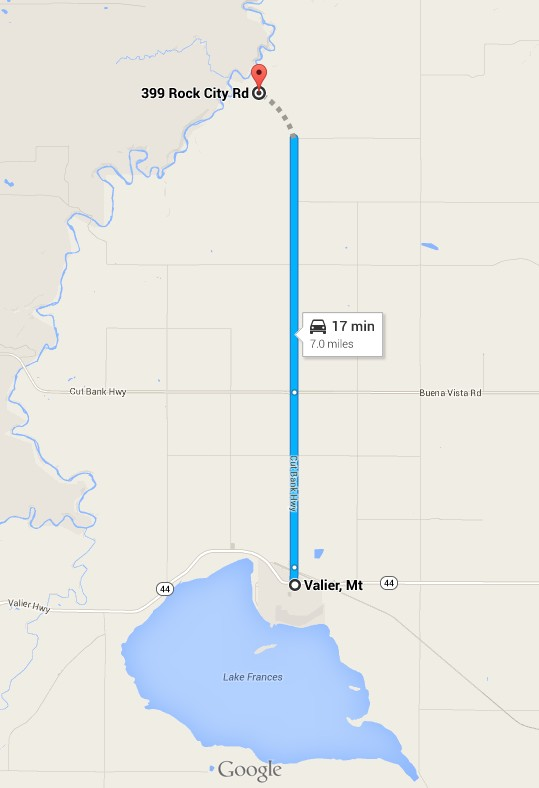 Map to Rock City, Montana
