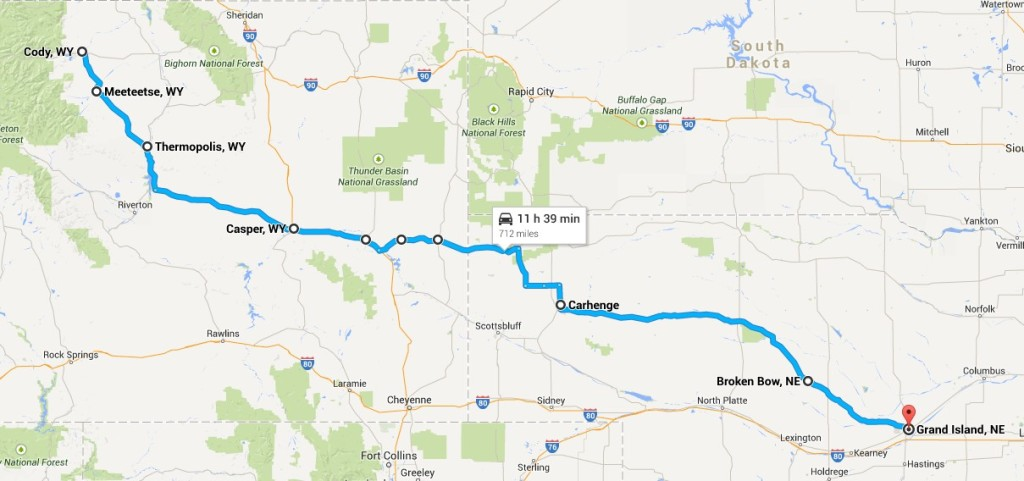 Map of trip from Cody to Grand Island, Nebraska