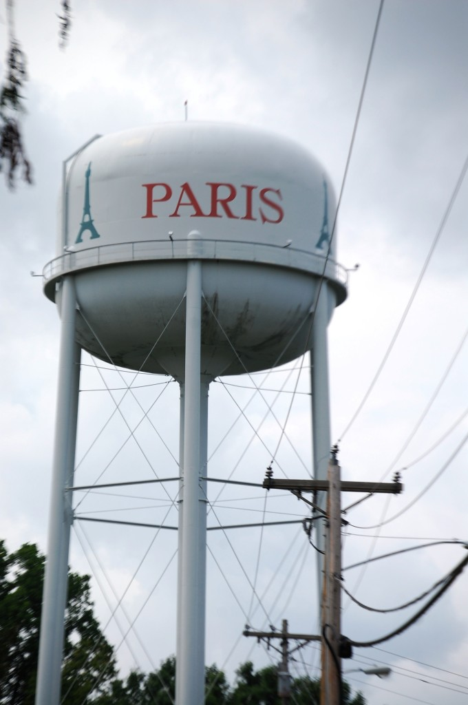 The Paris, TN watertower, which has an Eiffel Tower  painted on it.