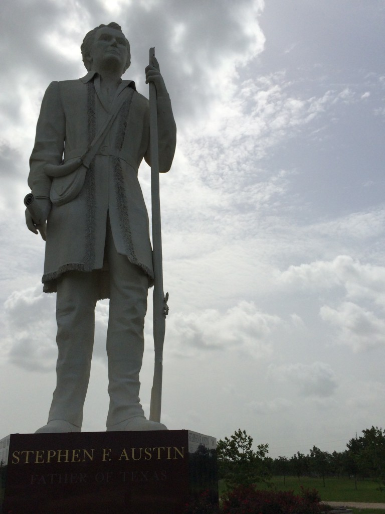 The 76 foot tall Stephen F. Austin Statue in Angleton, Texas
