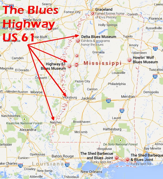 Map of the Blues Highway (US 61) through Mississippi