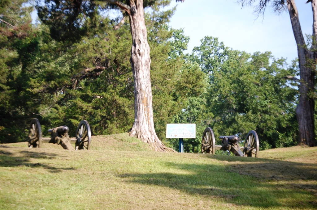 Cannons in the trees in Vicksburg