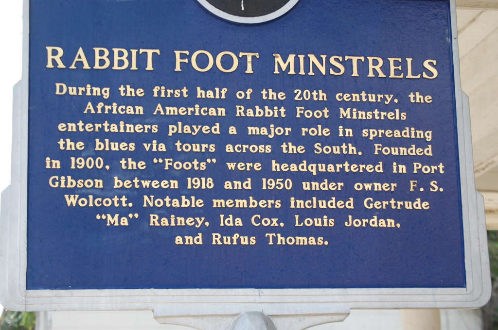 Rabbit Foot Minstrel marker in Port Gibson, MS